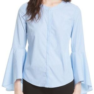 MILLY Blue Michelle Stripe Bell Sleeve Blouse